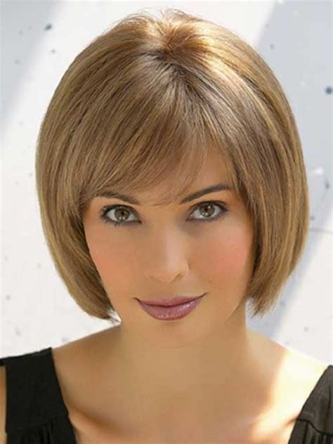 chin length layered bob with side bangs nice short straight hairstyles with bangs short