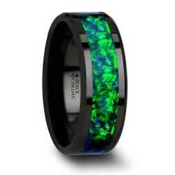 pulsar ceramic wedding band with beveled edges and