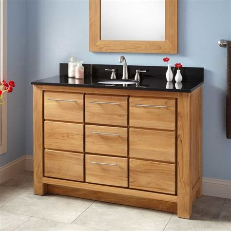 48 quot narrow depth venica teak vanity for undermount sink