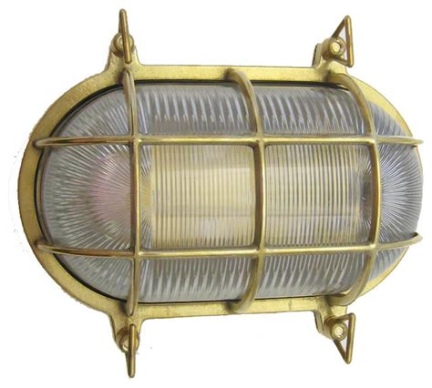 Brass Landscape Lighting Fixtures Shiplights Large Oval Cage Light Fixture Solid Brass Outdoor Lighting Houzz
