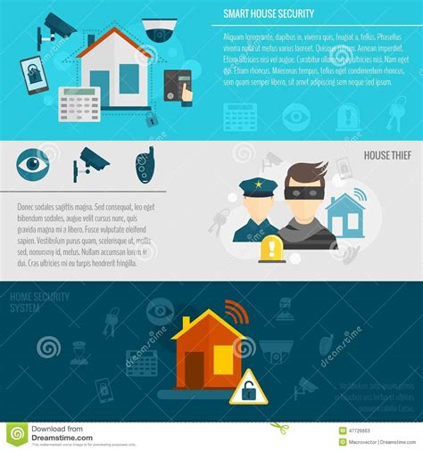 home security banner set stock vector image 47726663
