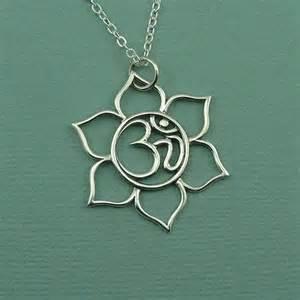 Lotus Flower With Om Symbol Om Lotus Flower Necklace Sterling Silver Om Symbol