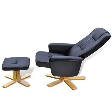 Armchair With Stool by Black Artificial Leather Tv Armchair With Foot Stool Vidaxl Co Uk