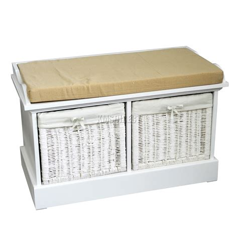 white storage bench with seat foxhunter wooden storage bench seat with 2 wicker basket