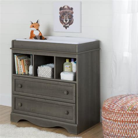 South Shore Savannah 2 Drawer Gray Maple Changing Table Maple Changing Table