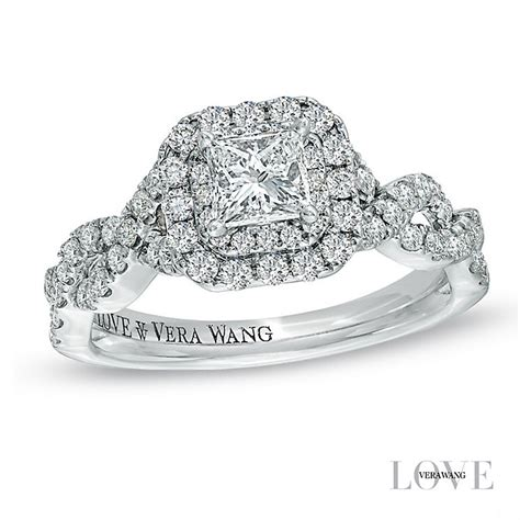 vera wang platinum 95pt princess cut halo ring