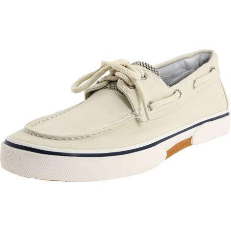 sperry top sider halyard 2 eye boat shoe in white for
