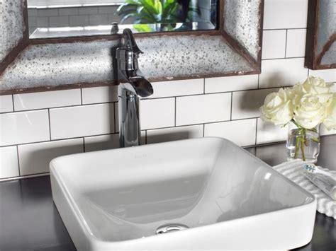 modern vessel sink  white subway tile backsplash hgtv