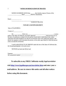 Trustee Resignation Letter by Resignation Letter Format Top Trustee Resignation Letter California Notification Simple
