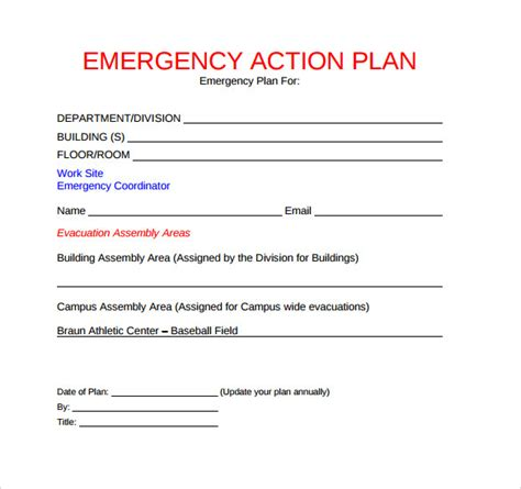 sle emergency action plan template 9 documents in