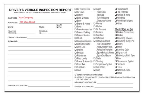 Pics For Gt Daily Vehicle Inspection Sheet Daily Vehicle Inspection Sheet Template