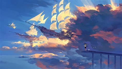 aesthetic wallpaper 1366x768 1366x768 wallpaper hanyijie sky scenery ship anime