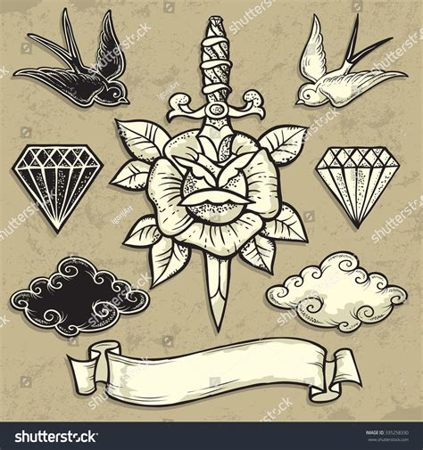 easy vintage tattoo old school rose dagger tattooart design stock vector