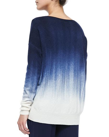 ombre knit sweater vince painted ombre knit sweater white blue marine