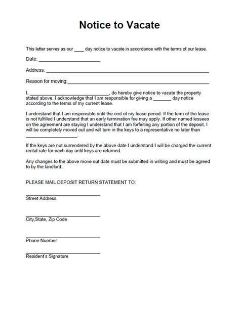 30 day notice to vacate template 30 day notice to vacate letter best business template
