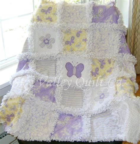 Die Cut Quilt Kits by Prefringed Cut Rag Quilt Kit Lavender And Yellow