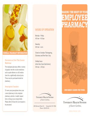 Employee Pharmacy by Vidant Employee Pharmacy Hours Fill Printable