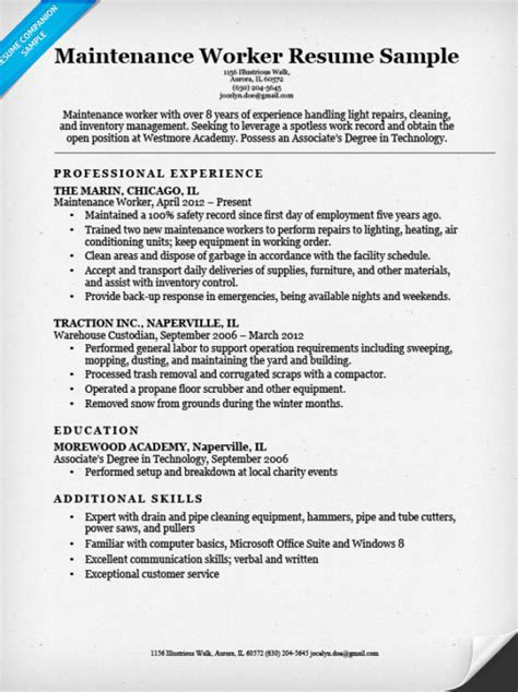 Resume For Maintenance by Maintenance Worker Resume Sle Resume Companion