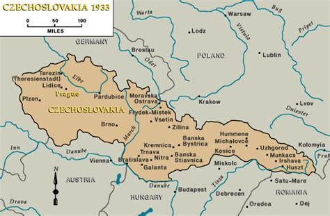 czechoslovakia map czechoslovakia 1933 prague indicated