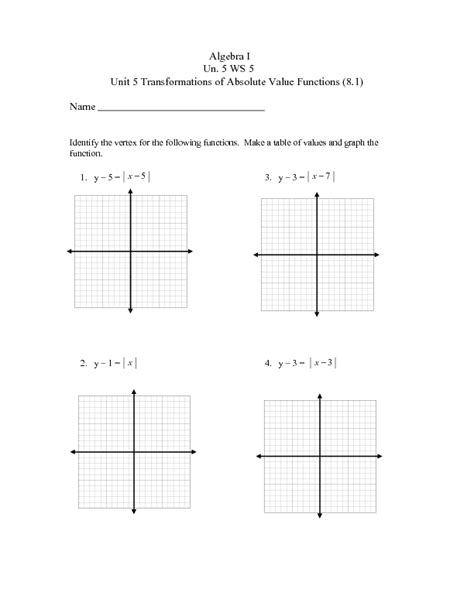 Graphing Absolute Value Equations Worksheet Answers by Pictures Graph Transformations Worksheet Getadating