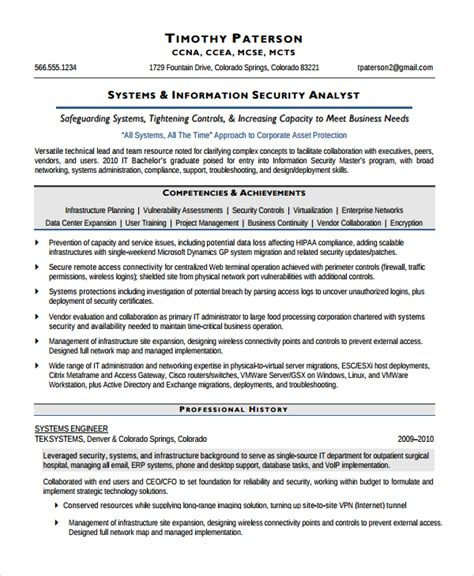 sle information security analyst resume 7 documents in word pdf
