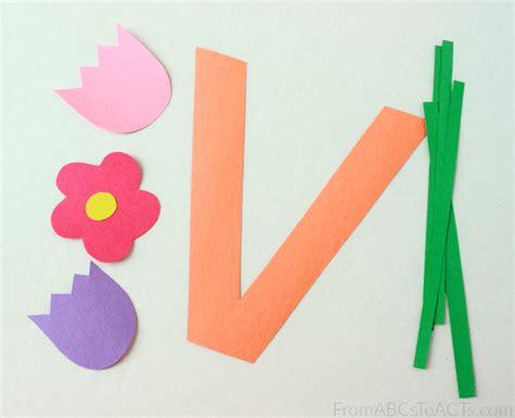 Paper Vase Craft - preschool alphabet book uppercase letter v from abcs to