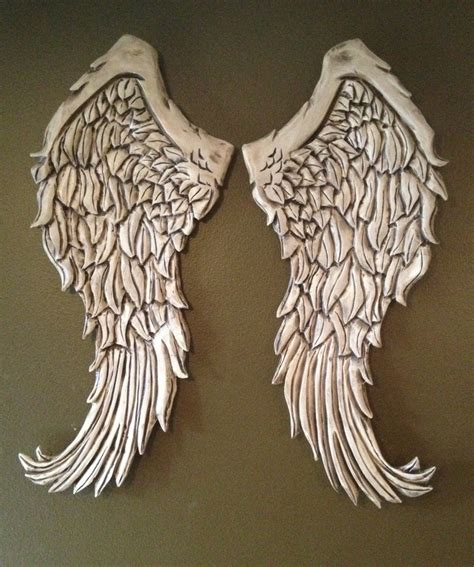 large rustic angel wings distressed wood wall decor