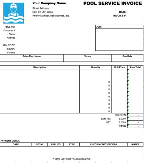 Free Pool Service Invoice Template   Excel   PDF   Word (.doc)