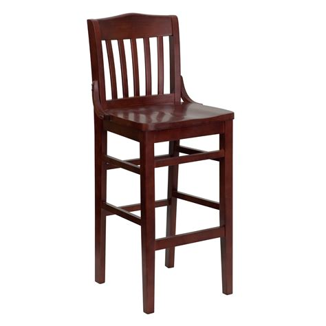 Wooden Bar Stool With Back Lacquered Brown Walnut Wood Bar Stool With Vertical Ladder Backrest Of Wooden Bar Stools With