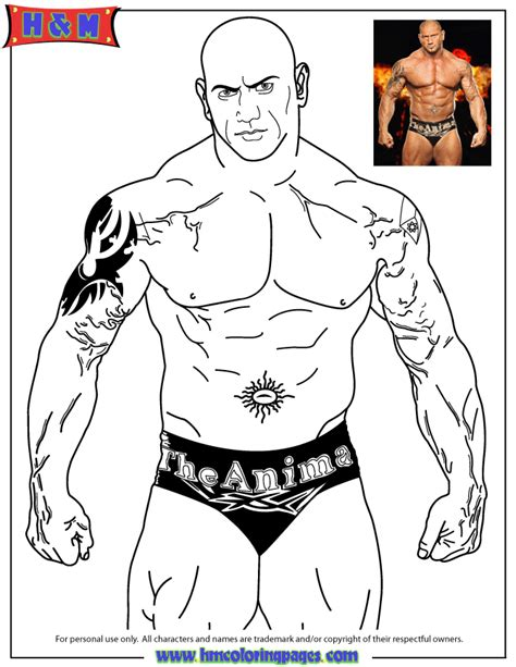 wrestling wwe coloring pages free and printable world wrestling entertainment wwe batista the animal