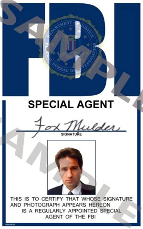 Portrait Id Card Template x files special fox mulder portrait id card