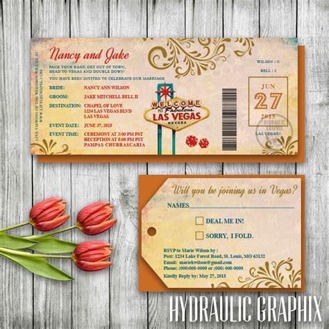 printable luggage tags wedding las vegas wedding invitation ticket las vegas invitation set