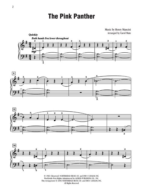 tutorial piano pink panther pink panther the by henry mancini j w pepper sheet music