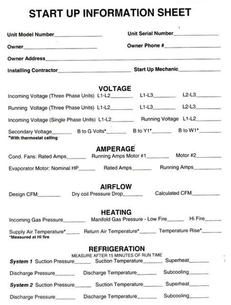 Hvac Start Up Report Template Hvac Start Up Sheets Thread Hvac R Preventive Maint Checklist Projects To Try Pinterest