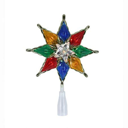 multi colored star tree topper 8 quot lighted 8 point multi color tree topper clear lights walmart