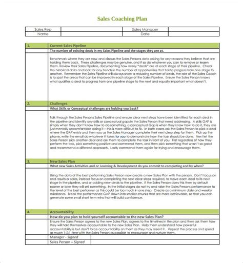 employee coaching template template design