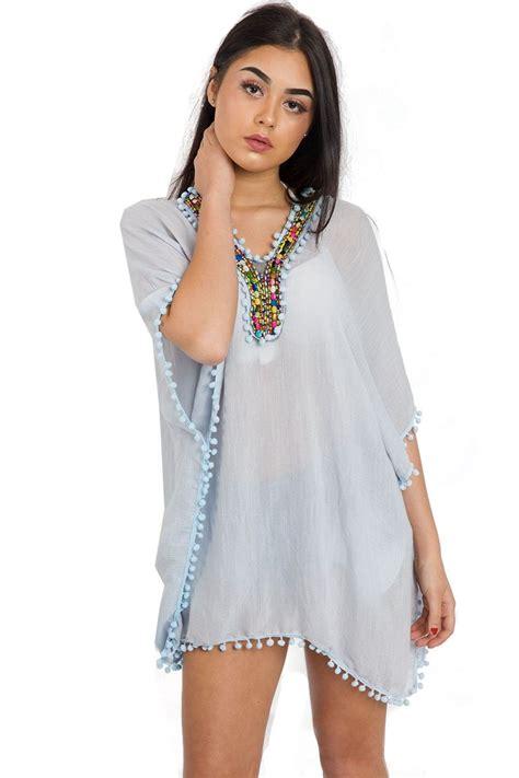 womens beaded tops womens lightweight pom beaded kaftan dress top