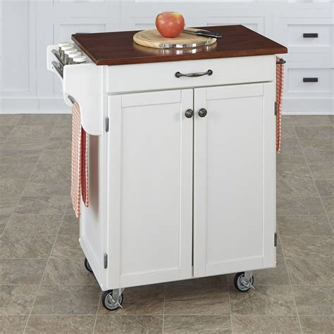 Kitchen Cart At Lowes Shop Home Styles White Cherry Rectangular Kitchen Cart At