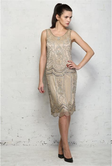 Beaded Silver Flapper Dress 1920s Embellished Dresses