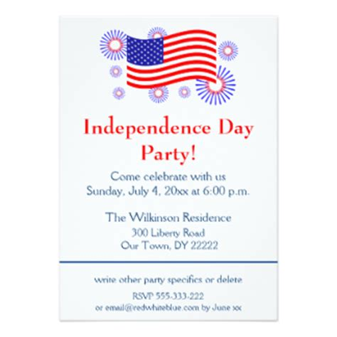 Invitation Letter Format Independence Day 285 Us Independence Day Invitations Us Independence Day Announcements Invites Zazzle