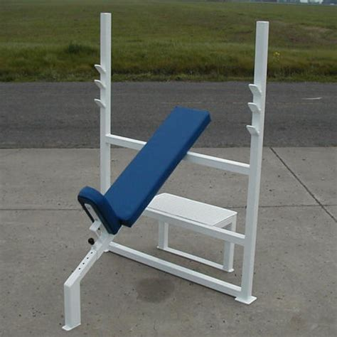olympic incline bench press b03 olympic incline bench press w adj seat spotter