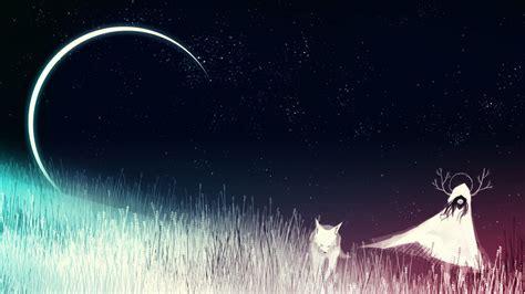 wallpaper dream girl fox cgi  moon hd fantasy