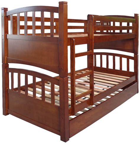 pull out bunk bed buy mclamar bunk bed with pull out in walnut finish by