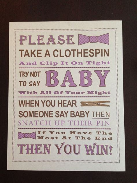 baby shower don t say baby sign purple