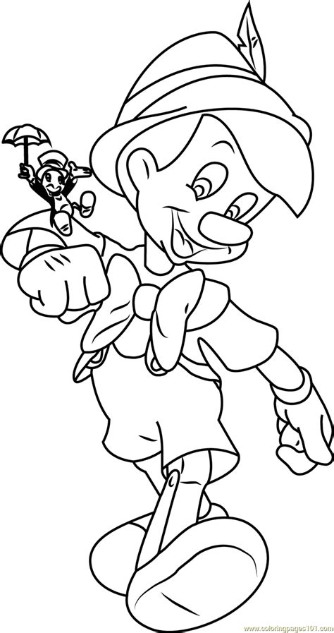 pinocchio with jiminy cricket coloring page free