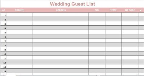 35 Beautiful Wedding Guest List Itinerary Templates Printable Wedding Guest List Template