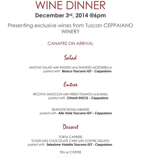 5 course dinner menu wine dinner at coronado s sapori 5 course meal december
