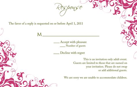 Seminar Response Cards Templates by Wedding Invitation Wording Wedding Invitation And Rsvp
