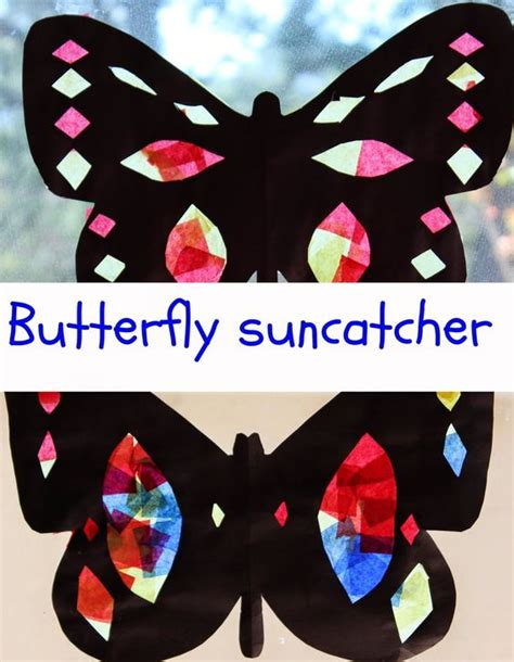 Butterfly Construction Paper Craft - butterfly suncatcher with construction paper and tissue
