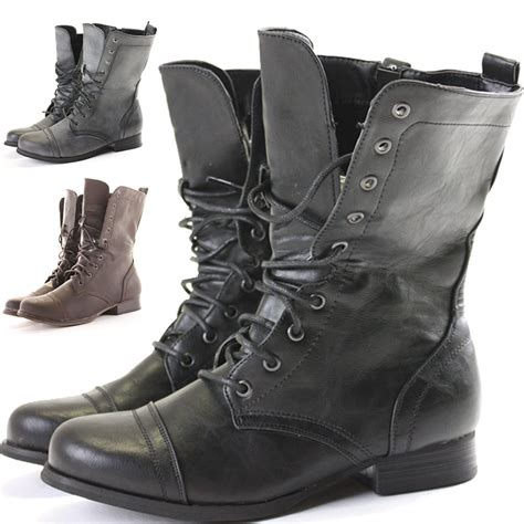 womens combat style army worker ankle boots flat
